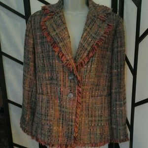Denim 24/7 Multicolor Lined Blazer Jacket Womens